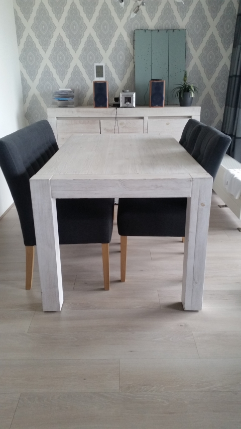 White Wash Eettafel Met Stoelen.Eettafel 160 X 90 Whitewash Marktplein