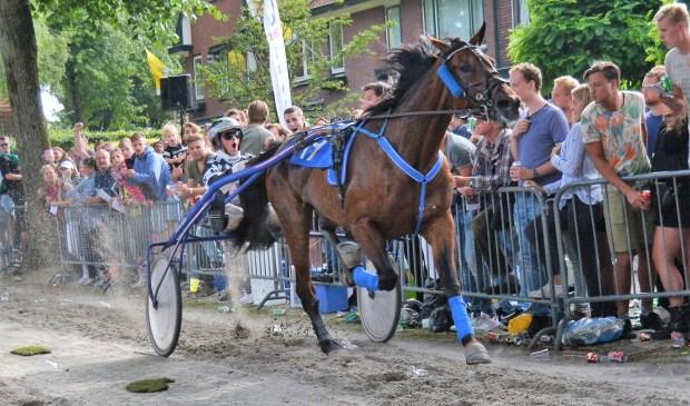 Wim van der Mespel stuurt Blue Diamond As in een volgepakt Santpoort naar de overwinning (foto: Kortebaandraverijen.nl).
