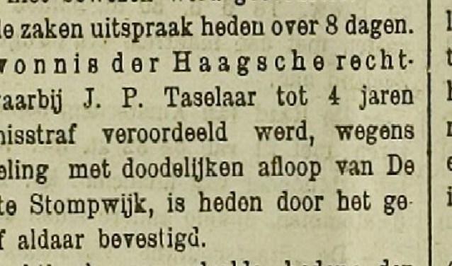 Het krantenbericht over de  veroordeling van de heer Taselaar door de Haagsche rechtbank.