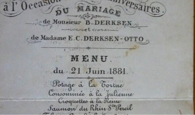 Het menu van de 25-jarige bruiloft van het echtpaar Derksen en Otto op 21 juni 1881.
