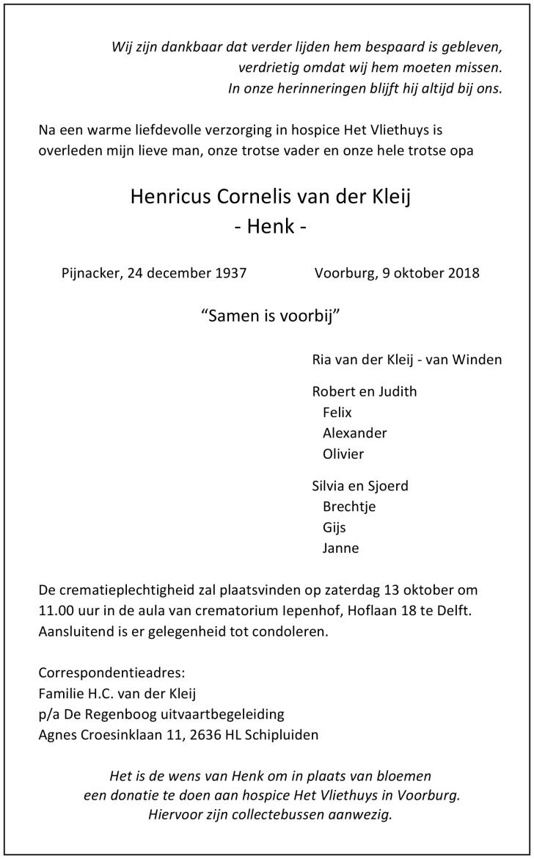 Henk Van Der Kleij Overleden