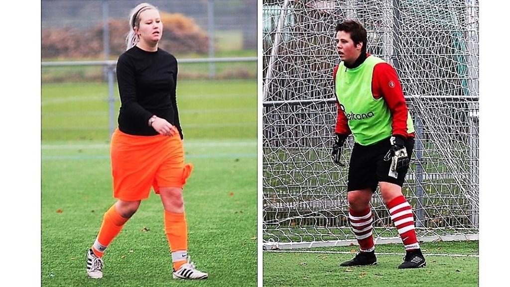 De aftocht van keeper Sterre v.d. Zalm (hands; rode kaart); Sylvia v. Leeuwen (RKAVV Vrouwen) nam het over (foto's: AW).  © Het Krantje
