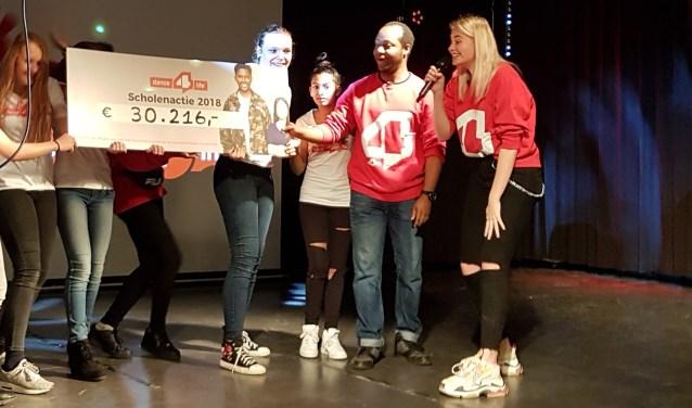 Op 19 december was de onthulling van het eindbedrag van het landelijke Dance4life op het ONC Clauslaan. Foto: pr