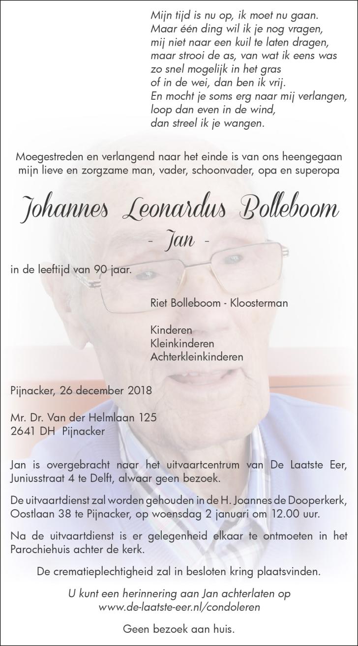 Jan Bolleboom Overleden
