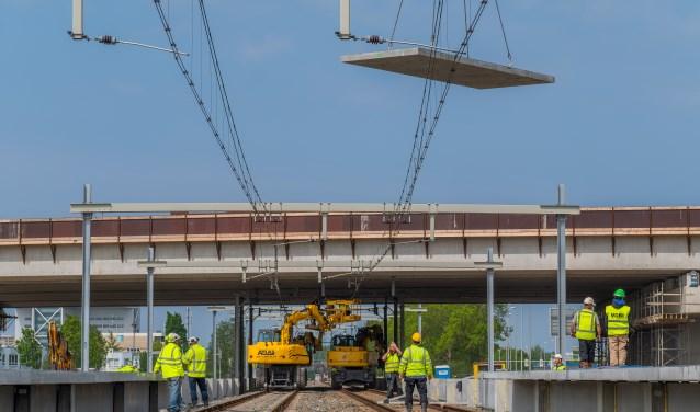 De bouwlocatie station Lansingerland-Zoetermeer is op 2 juni opengesteld voor publiek. Foto: Remco Zwinkels