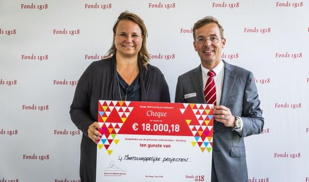 Wethouder Nadine Stemerdink (l.) ontvangt de cheque uit handen van Fonds 1818-directeur Sanne ten Bokkel Huinink (foto: Valerie Kuypers).