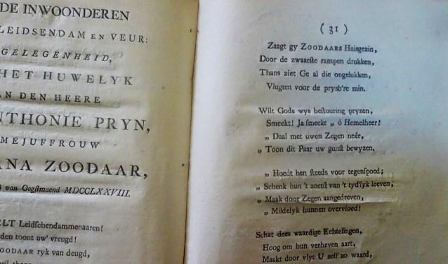Het feestelijke trouwboekje van Jan Anthonie Prijn (1757-1801) en Stephana Zoodaar (1756-1795).