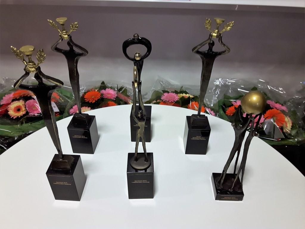 De prijzentafel met trofee's voor de winnaars (archieffoto).  © Het Krantje