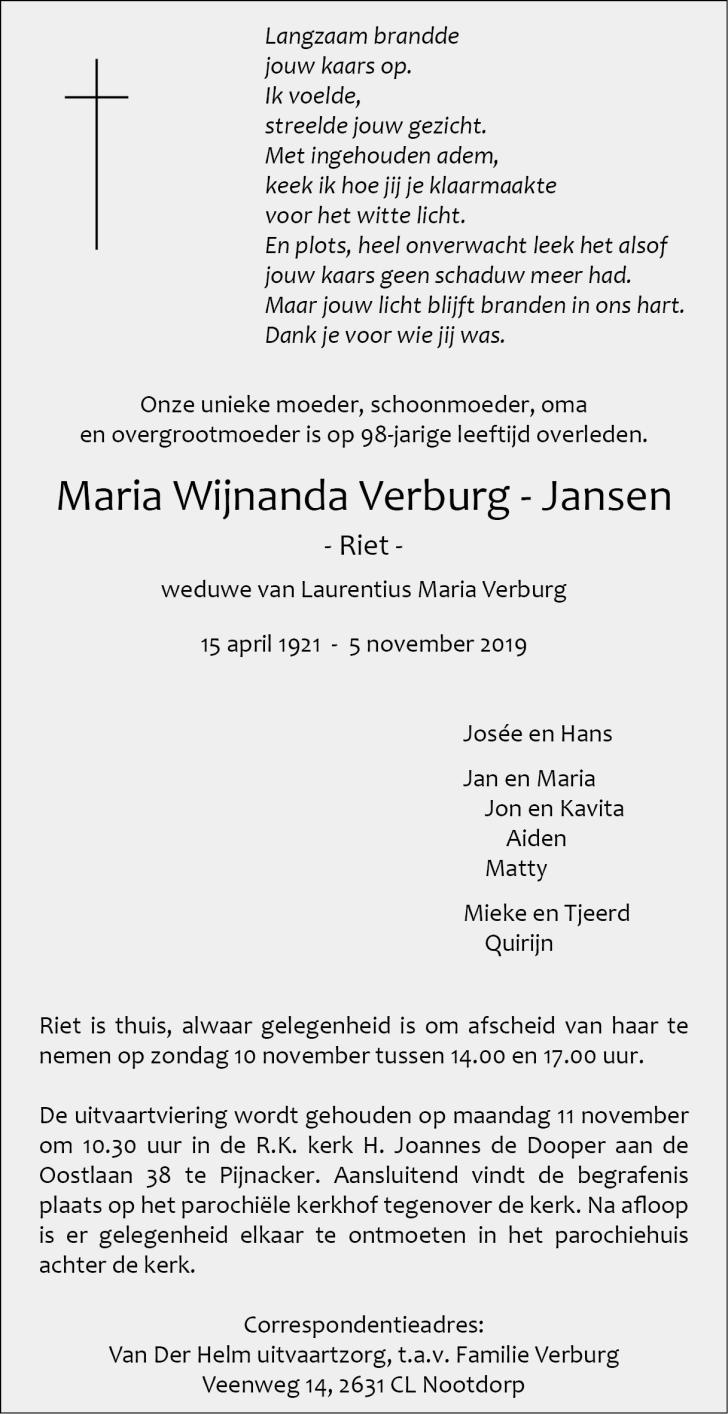 Mevrouw Verburg Jansen Overleden