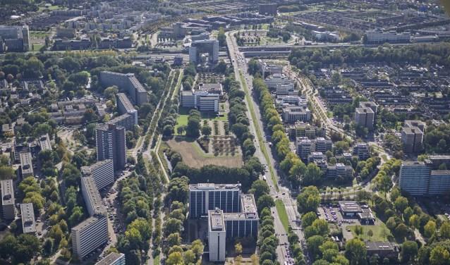 Het gebied aan weerskanten van de Afrikaweg en rond de Mandelabrug wordt de komende tien tot vijftien jaar ontwikkeld tot stadswijk De Entree. Foto: Via www.zoetermeer.nl/entreezoetermeer