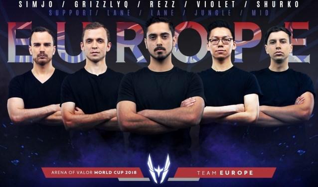 Een deel van het Europese team, met in het midden Calvin.