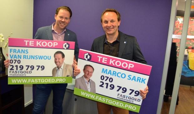 Marco Sark en Frans van Rijnswou spelen met de naam FASTGOED makelaars in op de snelheid van de huidige woningmarkt (foto: Inge Koot).