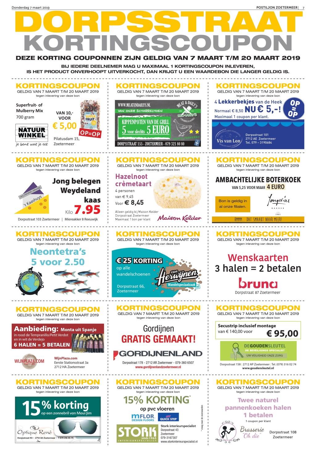 Deze en de komende weken verschijnen er in de Postiljon kortingscoupons van vele winkels uit de Dorpsstraat.  © Postiljon