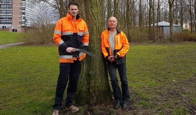 Secretaris van Meer en Woud, Martijn van Amelsvoort en Pon Ruiter, bestuurslid en al jaren een vaste verschijning binnen de knotgroep. Foto: Jana Hurtado-Panek