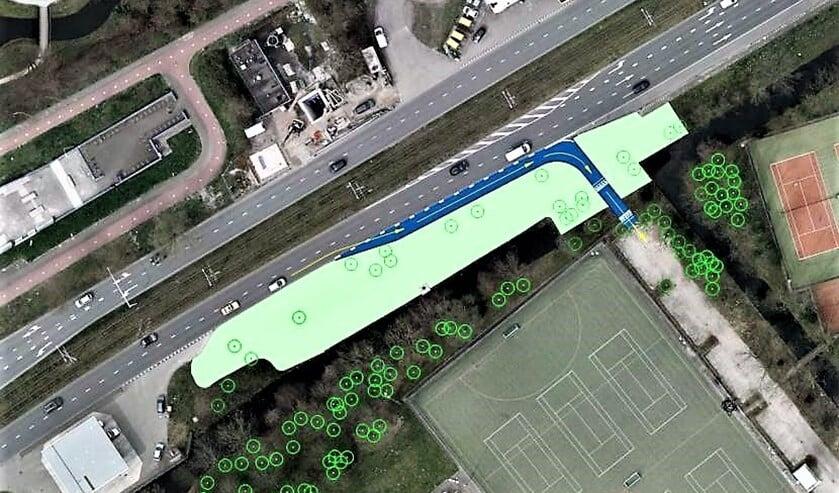 Luchtfoto van de situatie met de nieuw inrit ingetekend (fotobewerking: gemeente Leidschendam-Voorburg).