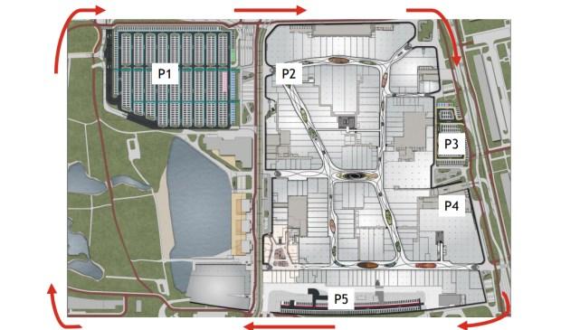 De vijf parkeergarages en -terreinen rondom Mall of the Netherlands (Illustratie: Unibail-Rodamco-Westfield).