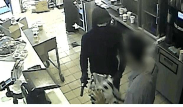 Camerabeelden overval op McDonald's.