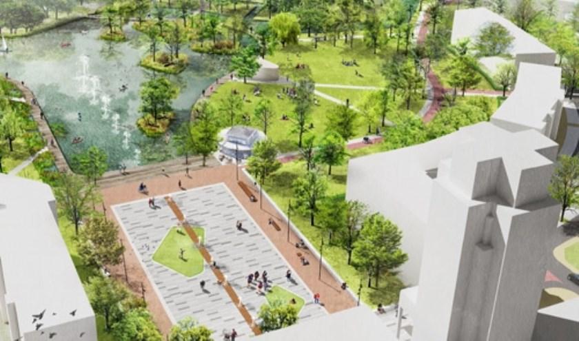 Schetsontwerp Markt - Dobbe gebied, slechts een deel van de ingrijpende plannen voor de binnenstad. Illustratie: Gemeente Zoetermeer