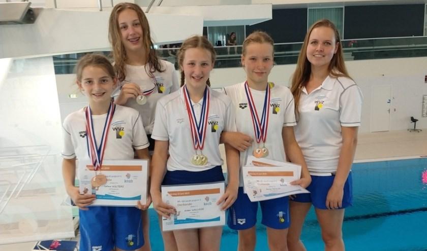 De vier springers van WVZ met ass. coach Annemarijn Bal. Foto: pr