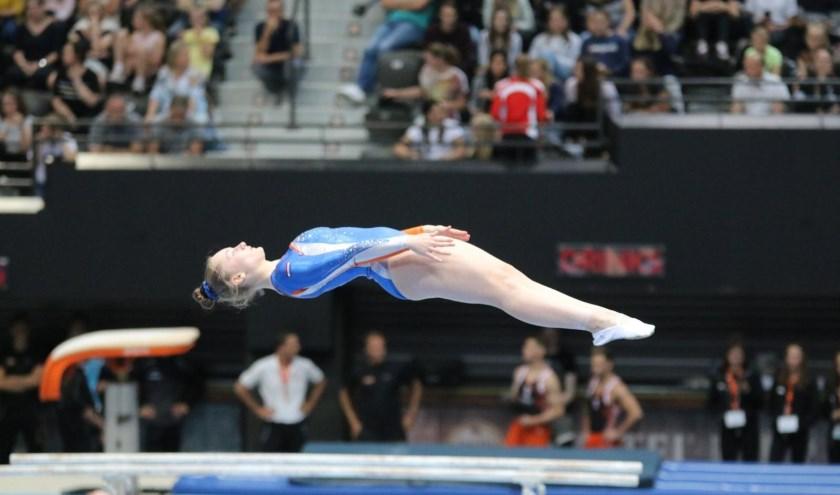 Melissa Klein pakte in Ahoy tweemaal zilver bij het trampolinespringen in de eredivisie. Foto: Maas-Hein Boeve