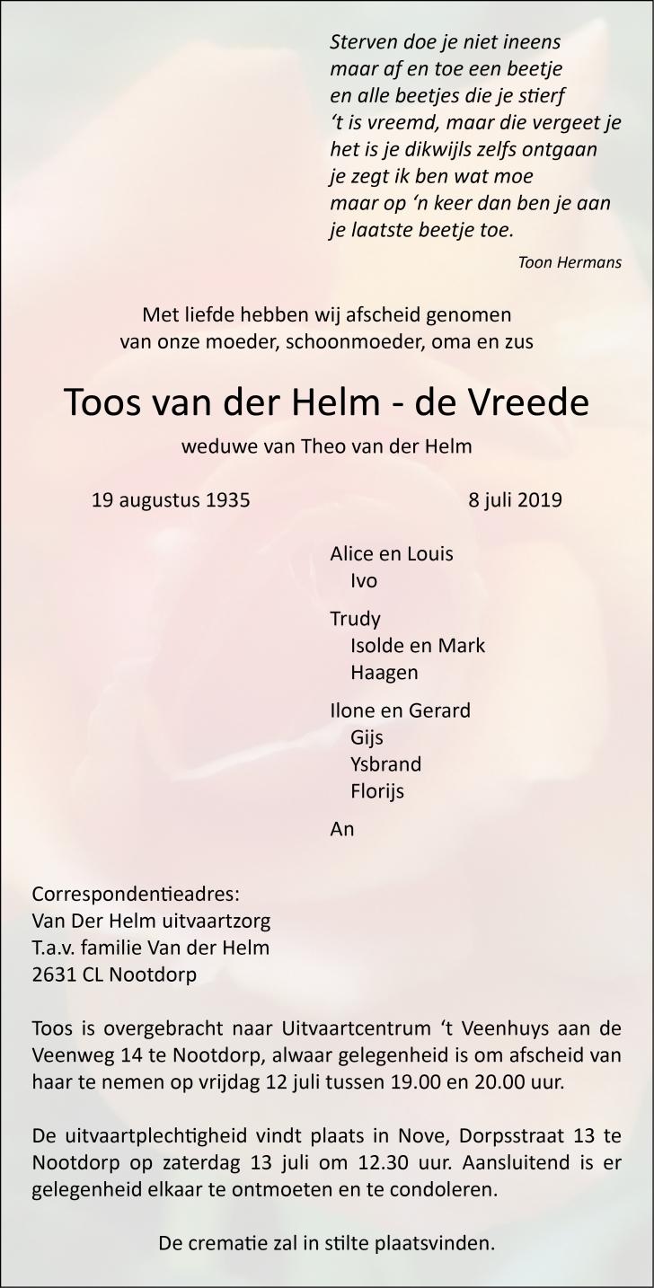 Toos Van Der Helm De Vreede Overleden