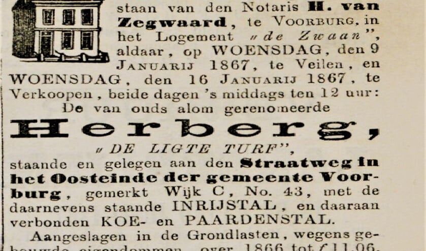 Advertentie van de veiling van het koffiehuis De Ligte Turf in 1867 (archieffoto).