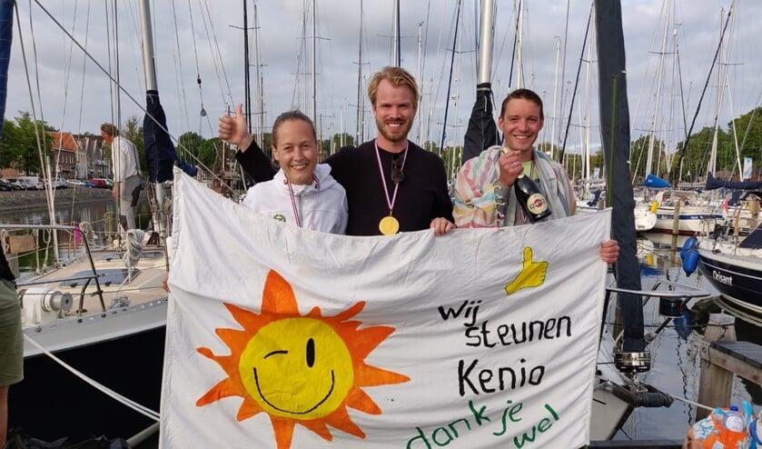 Malin, Micha en Tijmen haalden met de tocht honderden euro's op voor 'Wij Steunen Kenia'.