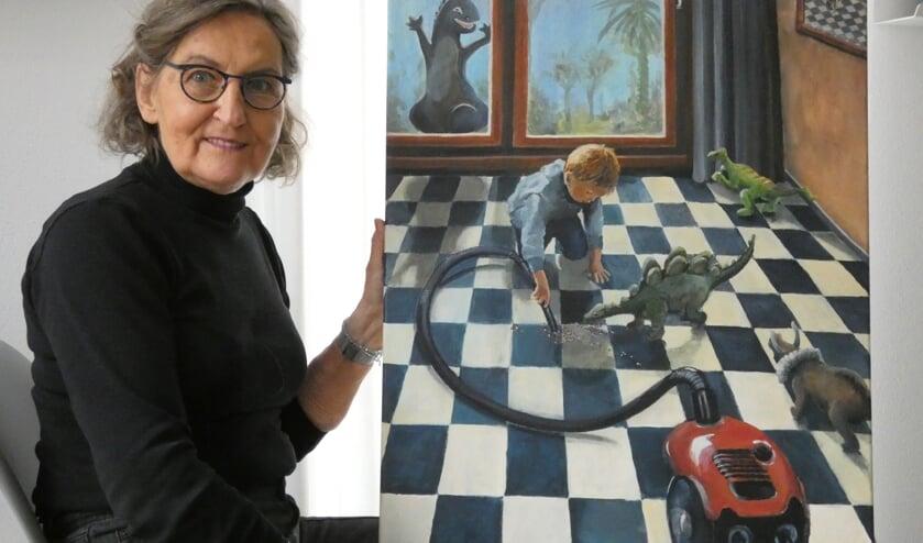 De Nootdorpse Margot Labordus – Kerklaan maakte een schilderij geïnspireerd op de bekende Delftse schilder Pieter de Hooch.