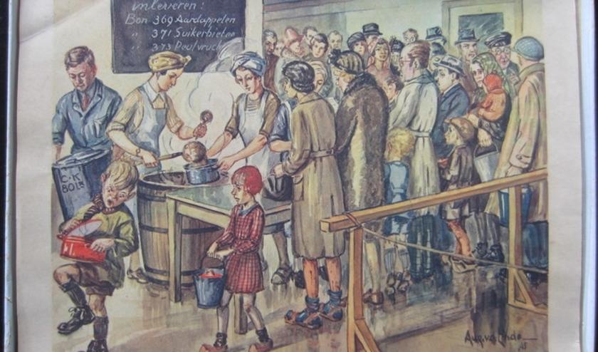 'Zoo was Nederland in de winter 1944-1945' behelst 18 reproducties naar aquarellen van de kunstenaar Aug. van der Linde.