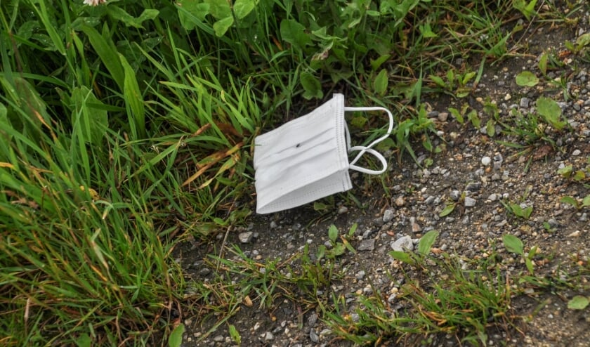 <p>Steeds vaker liggen mondkapjes en plastic handschoenen op straat en in de natuur. Ze horen er niet thuis. Foto: haagsegroen.nl </p>