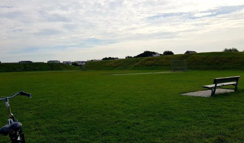 Het grasveld de Arena ligt naast de school Balans, Klaverveld 5. Foto: pr