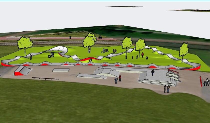 <p>Zo gaat de nieuwe skatebaan aan het eind van de Rijswijkse Landings- laan op Ypenburg eruit zien. Foto: Artist impression</p>