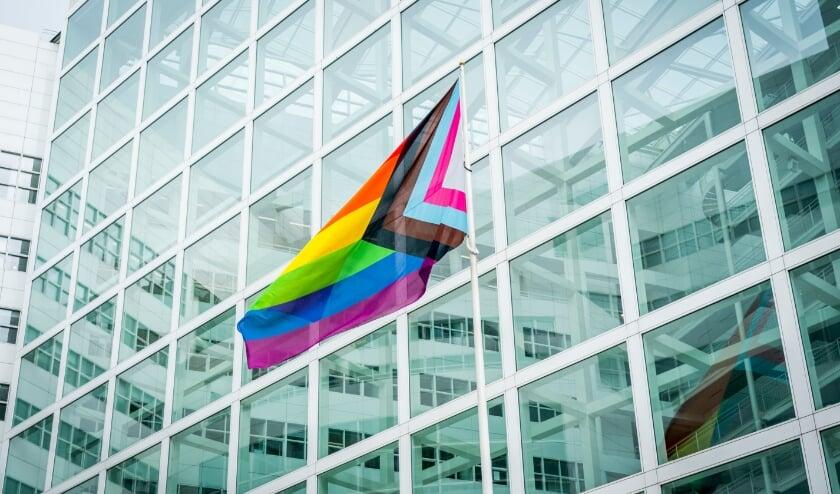 <p>Ook bij de hoofdingang van het stadhuis aan het Spui wappert zondag de inclusieve- of regenboogvlag. Foto: Valerie Kuypers</p>