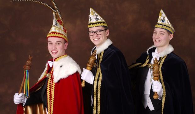 Jeugdprins Tren en zijn adjudanten Stan en Kas. Foto: Hoedemaekers.