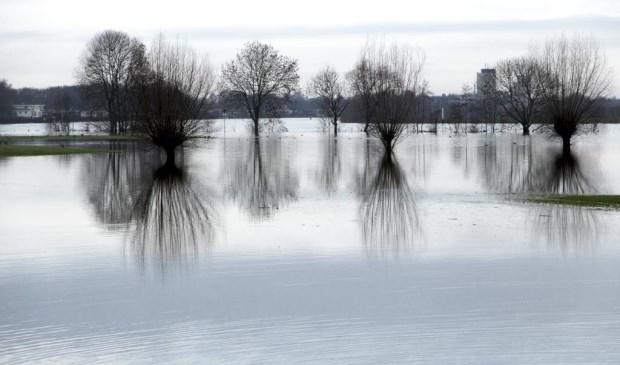 Vanwege het hoogwater liggen enkele werkzaamheden van Mooder Maas stil. Foto: Rikus ten Brücke.