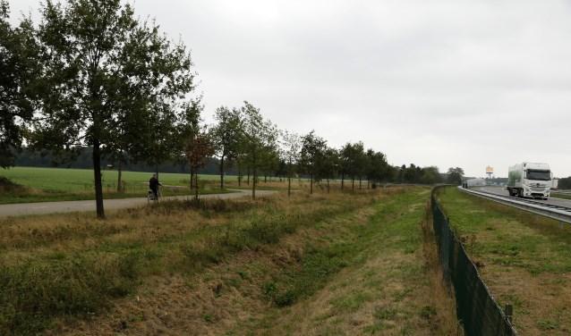 Het zonnepark is gepland langs de A73 in Smakt. Foto: archief Peel en Maas.