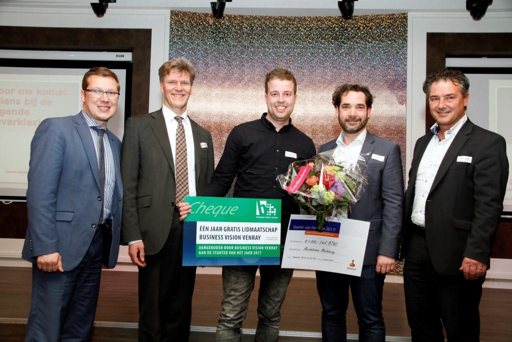 Van links naar rechts: Bob Vostermans, Jan Loonen, Miel Spreeuwenberg, Peter Deriks, Sven Bosveld