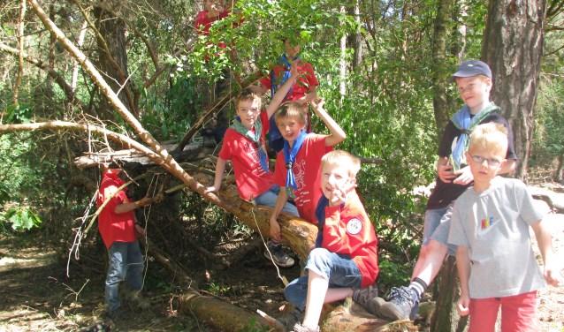 Leden  van scoutinggroep De Meuleberg voeren actie voor de aankoop van een stuk bos.
