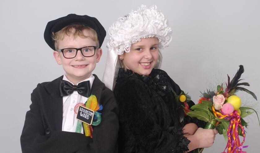 Het jeugdboerenbruidspaar van D'n Hazekeutel. Foto: Hoedemaekers.