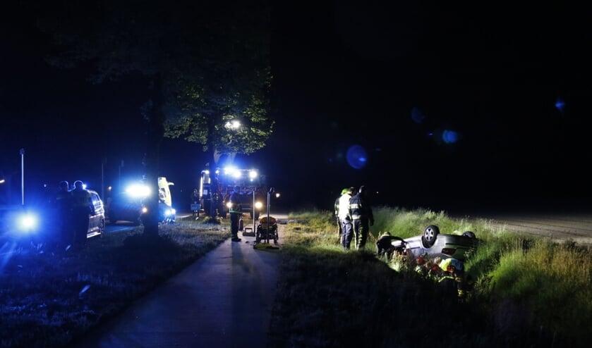 Bij het eenzijdig ongeluk bij Ysselsteyn belandde een auto in de greppel.