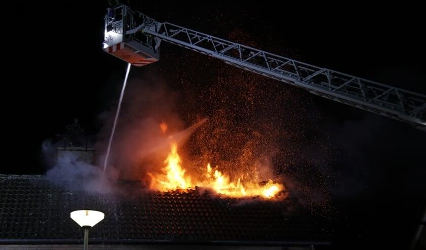 Op de zolderverdieping van een woonhuis in Venray brak zondagavond brand uit.