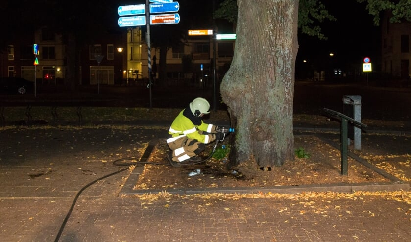 De brandweer wist de brand in de boom te blussen.