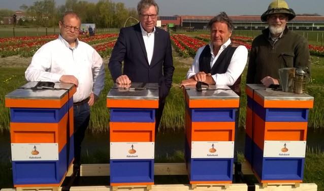 Van links naar rechts: Piet den Hertog, Jan Verhage, André Koudstaal en Leo Gensen.