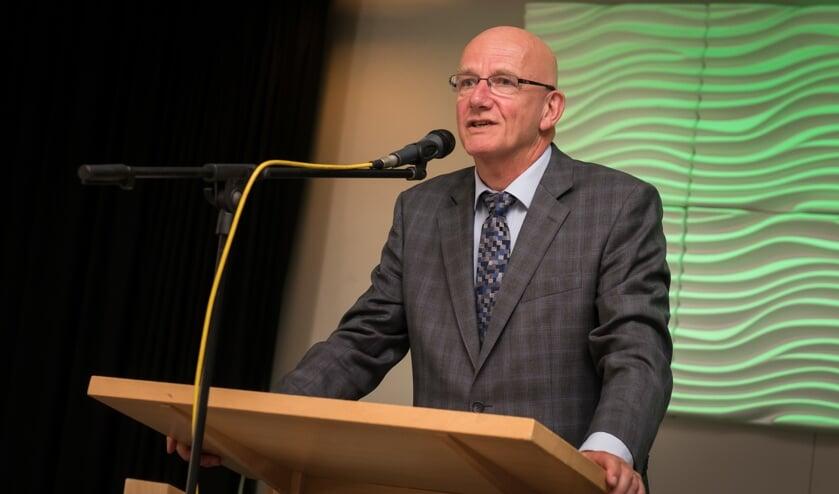 Gert-Jan van der Valk aan het woord tijdens zijn afscheidsreceptie. Foto: Wim van Vossen Fotografie