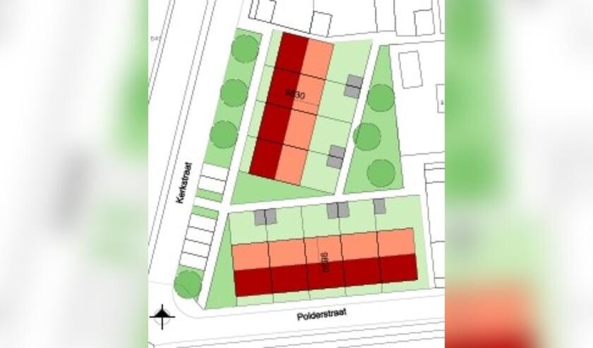 Een situatieschets van de straten in Achthuizen.
