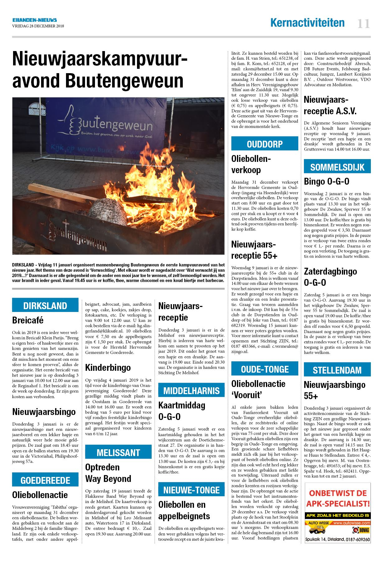 Dinsdag Eilanden Nieuws 28 December 2018