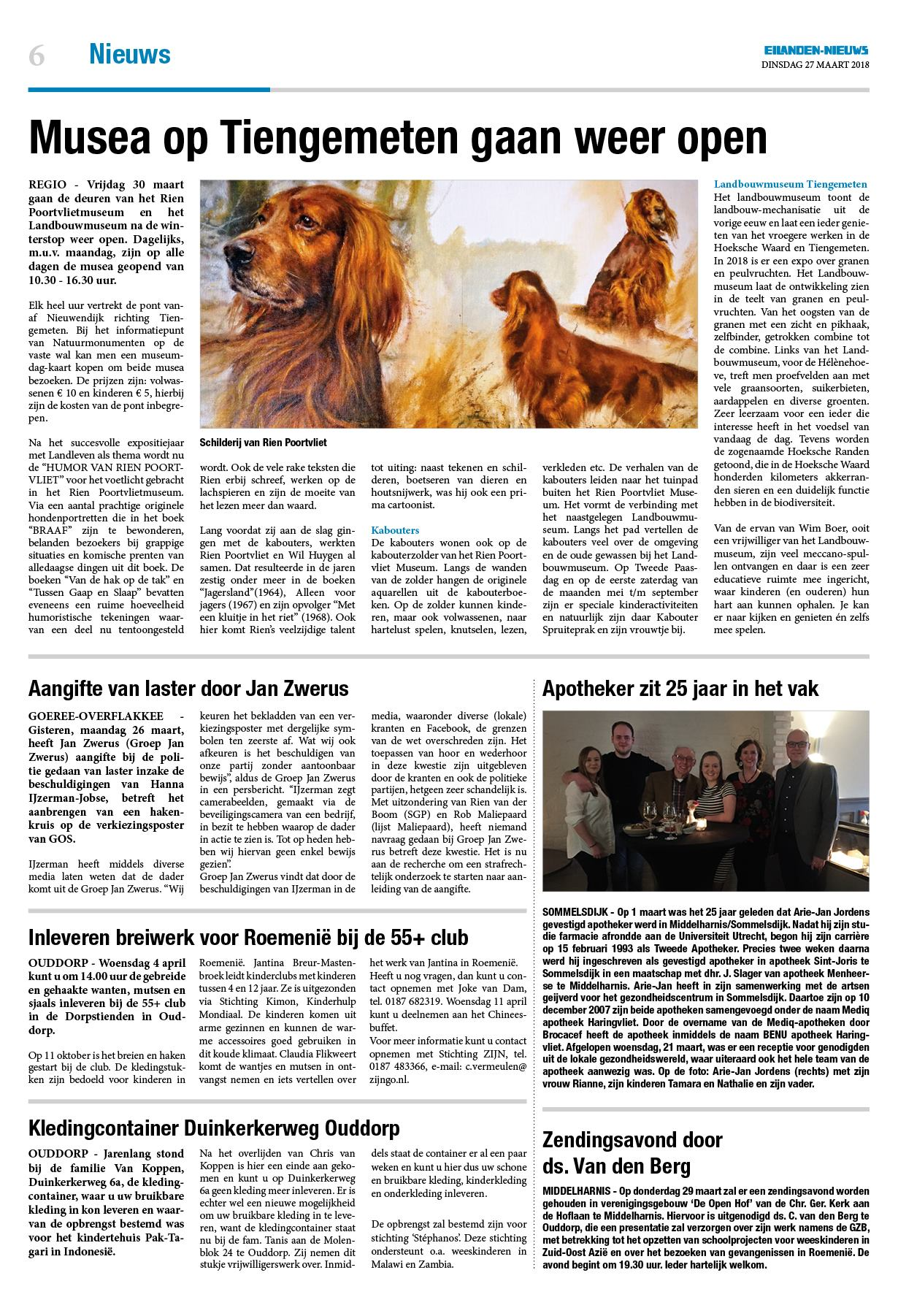 Dinsdag Eilanden Nieuws 27 Maart 2018