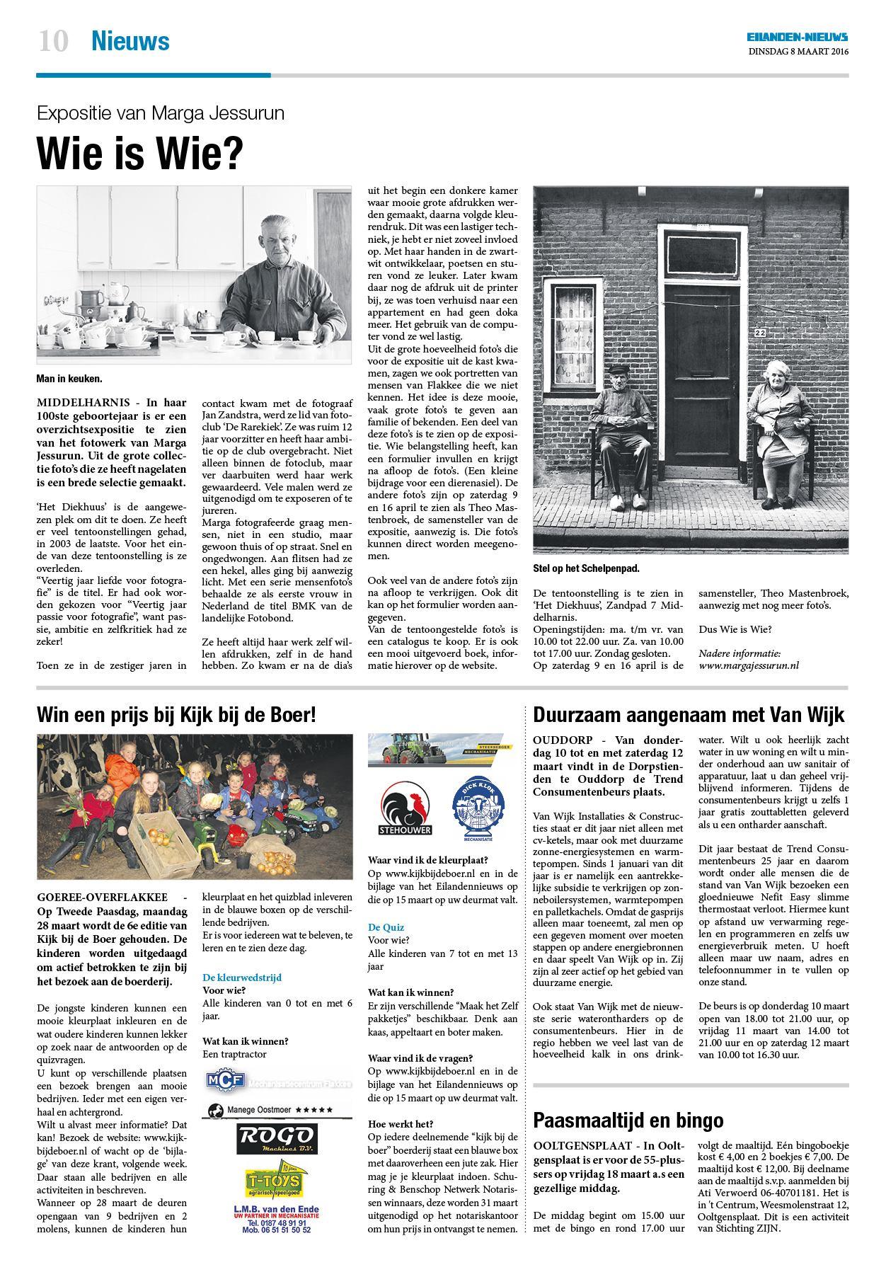Dinsdag Eilanden Nieuws 8 Maart 2016