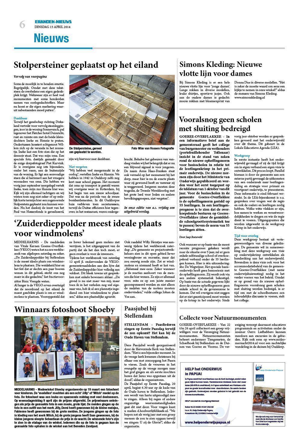9a16080a9e6444 Dinsdag Eilanden-Nieuws 15 april 2014