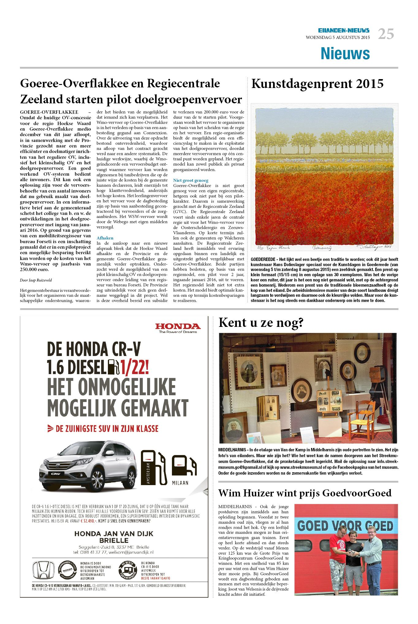 Dinsdag Eilanden Nieuws 5 Augustus 2015